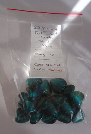 Foil Lined Hearts - Teal
