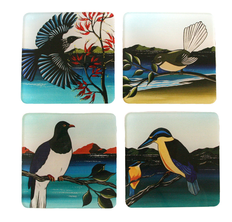 For New Zealand bird coasters by Debbie Morgan.