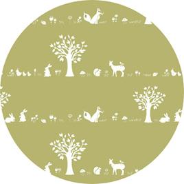 """""""Forest Friends"""" GOTS Organic Cotton Knit, 'Moss'"""