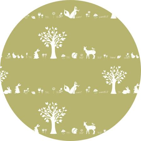 """""""Forest Friends"""", 'Moss', GOTS Organic Cotton Knit"""