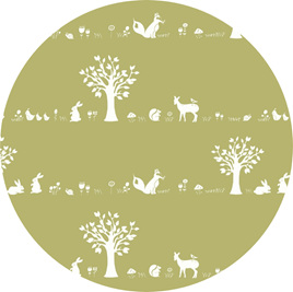 """Forest Friends"", 'Moss', GOTS Organic Cotton Knit"