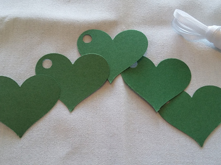 Forest green heart gift tags