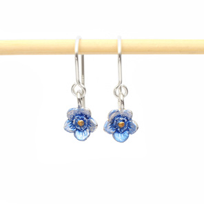 forget me not blue flowers drop earrings sterling silver floral botanical tiny