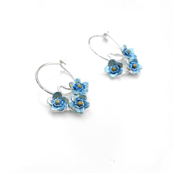 forget me not blue flowers hoop earrings sterling silver floral botanical