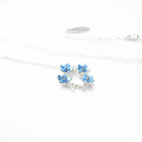 forget me not blue flowers sterling silver necklace knot posey bouquet spring