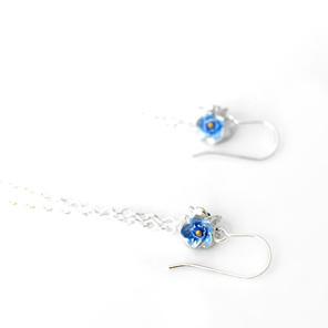 forget me not blue flowers sterling silver tassel dangle long earrings