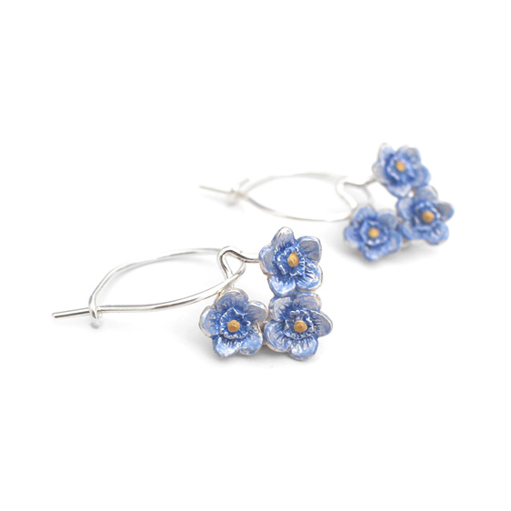 forget Me Not blue flowers tiny bouquet nature floral hoop earrings sterling