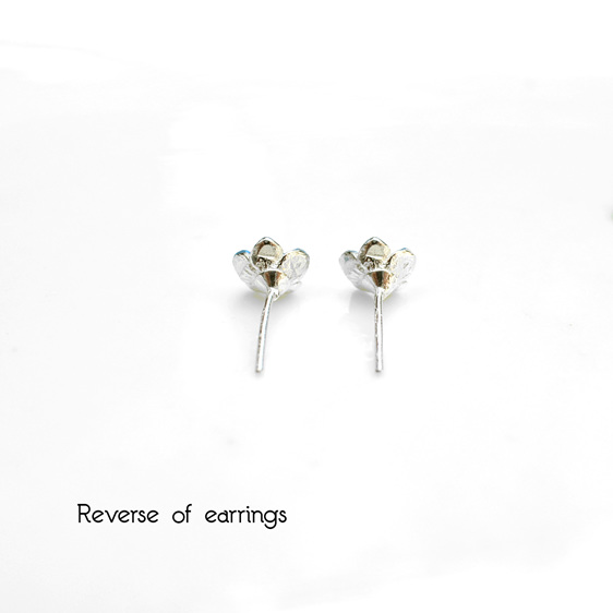 forget me not blue gold flowers tiny studs earrings delicate floral
