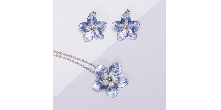 Forget me not earrings and matching pendant in purple