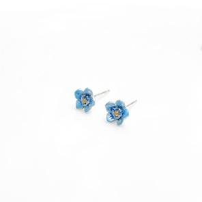 forget me not flower blue studs sterling silver spring summer botanical floral