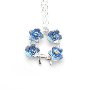 forget me not flowers blue sterling silver delicate floral necklace pendant