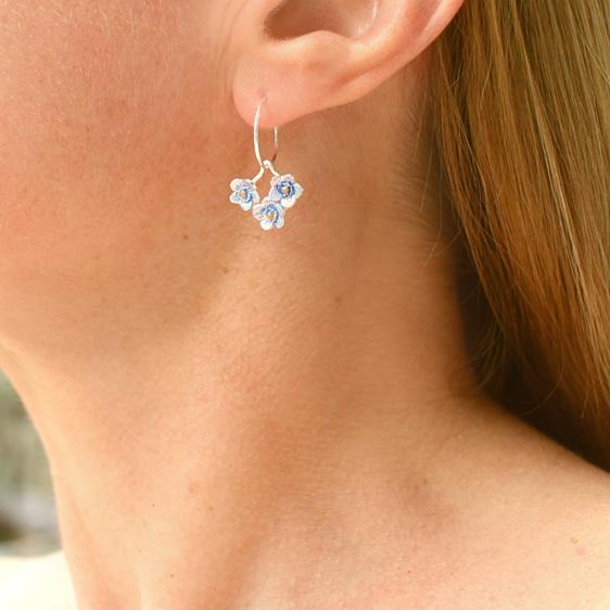forget me not flowers blue sterling silver hoop earrings spring botanical floral