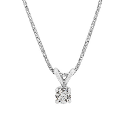Four Claw Diamond Solitaire Pendant in White Gold