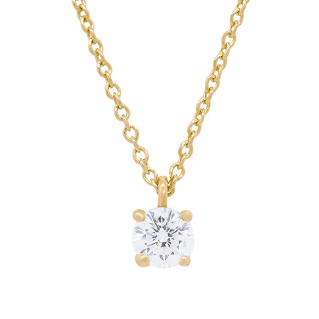 Four Claw Diamond Solitaire Pendant in Yellow Gold