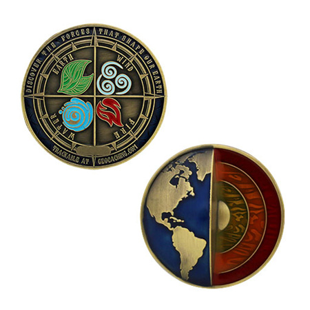 Four Elements Geocoin - Antique Gold LE