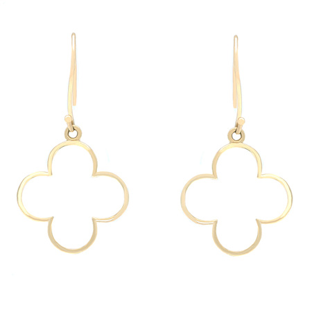 Four Leaf Clover Dangle Gold Earrings