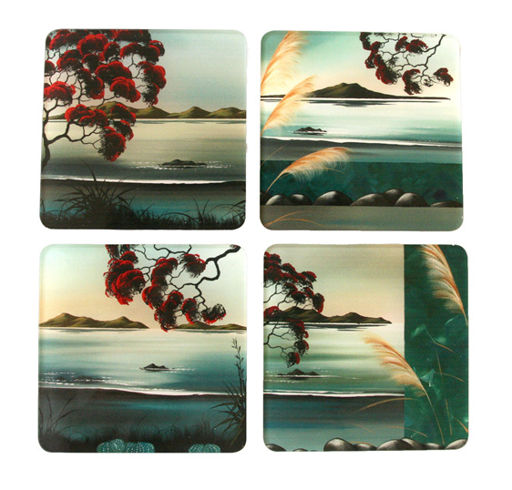 Four Pohutukawa landscape coasters by Debbie Morgan.