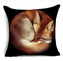 Fox Curled Up Cushion Cover