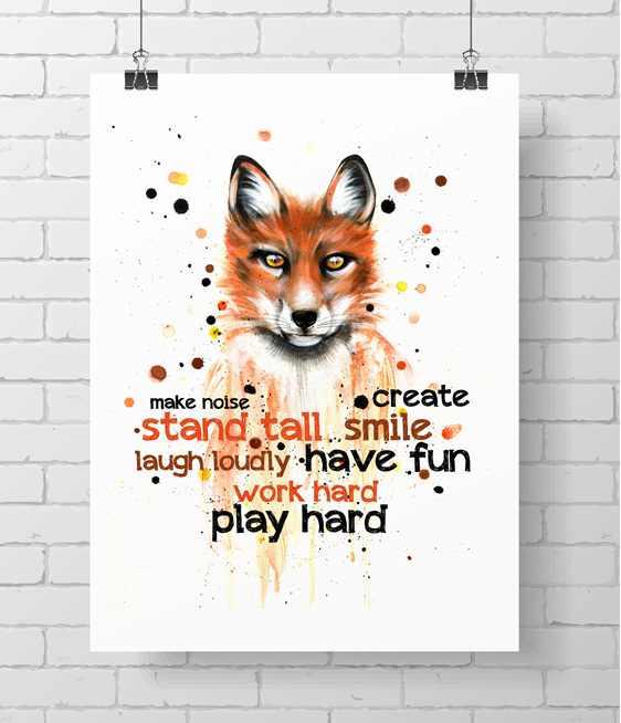 Fox with quote - on A3