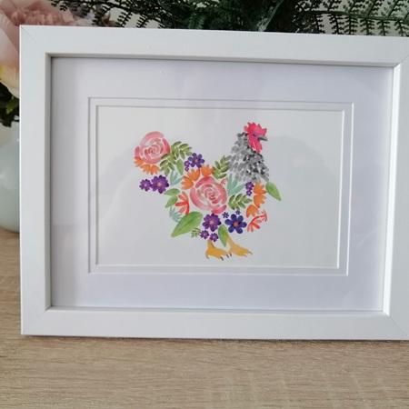 Framed Floral Chicken Print