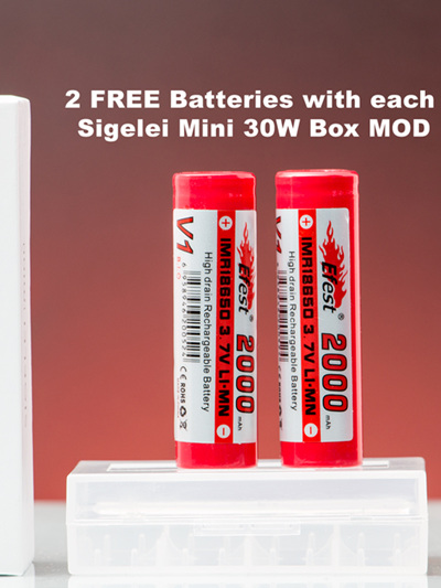 Sigelei Mini 30W Box MOD + FREE pair of Efest 18650 Batteries