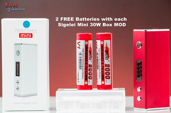 FREE Batteries with each Sigelei Mini 30W Box MOD