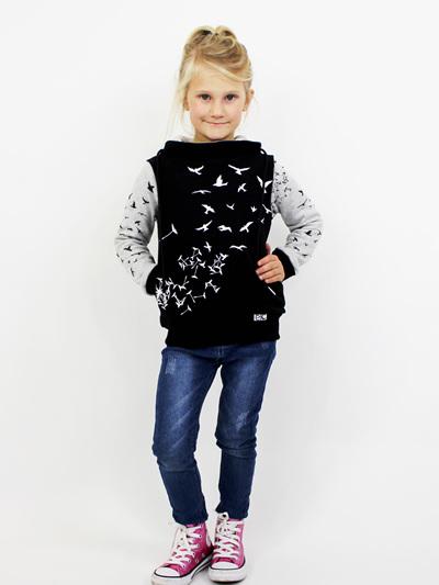 FREE SPIRIT BLACK HOODIE (GREY ARMS) - KIDS