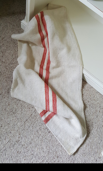 French Grain Seed Sack - Red Stripes