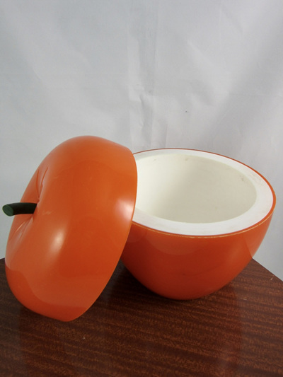 French Vintage Orange Apple Plastic Ice Bucket