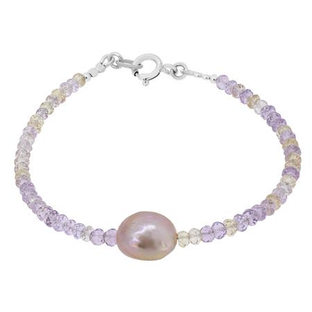 Freshwater Pearl and Ametrine Bead Bracelet