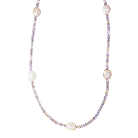 Freshwater Pearl and Ametrine Bead Necklace
