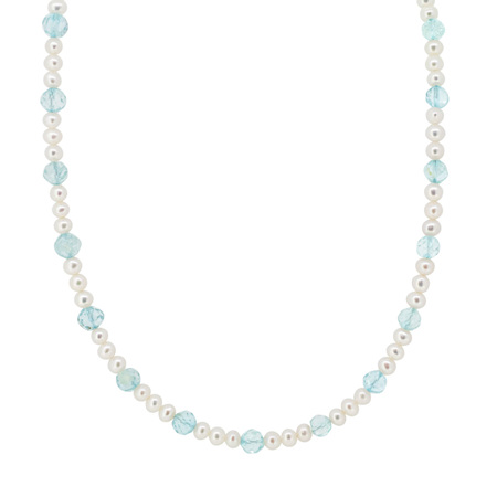 Freshwater Pearl and Aquamarine Bead Necklace