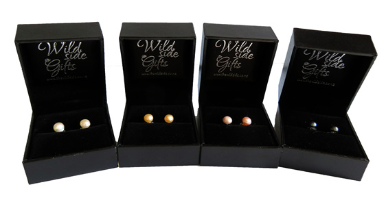 Freshwater pearl stud earrings come boxed