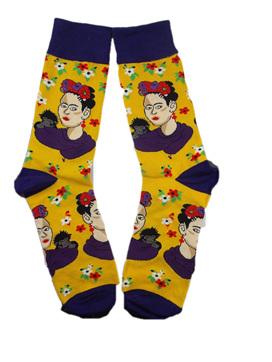 Frida Kahlo Socks: Purple & Yellow