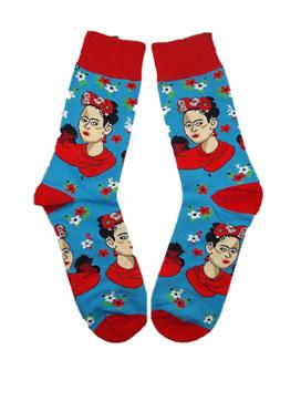 Frida Kahlo Socks: Red & Blue