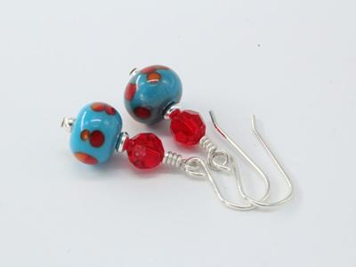 Frit earrings - California poppy on turquoise
