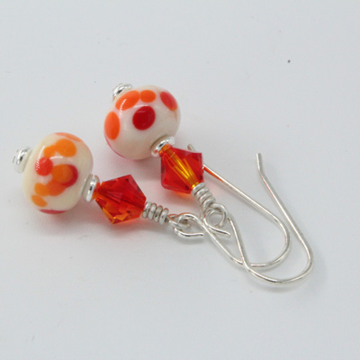 Frit earrings - Californian poppy on ivory