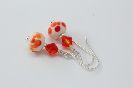 Frit earrings - Californian poppy on ivory