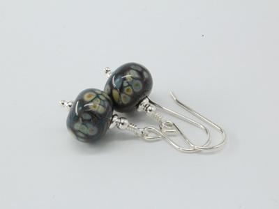 Frit earrings - Iris orange raku on dark matter