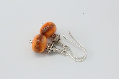 Frit earrings - Iris orange raku on orange