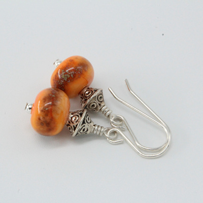 Frit earrings - Iris orange raku on orange