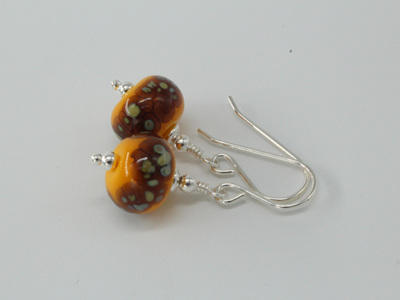Frit earrings - Iris orange raku on yellow