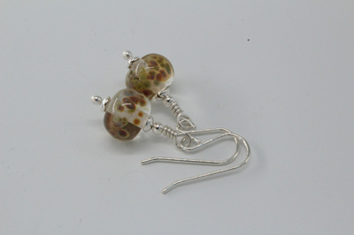 Frit earrings - orange raku on clear
