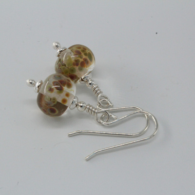 Frit earrings - orange raku on clear