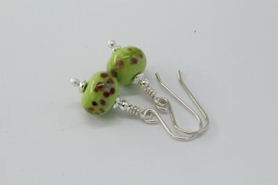 Frit earrings - orange raku on pea green