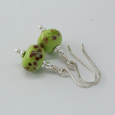 Frit earrings - orange raku on pea green
