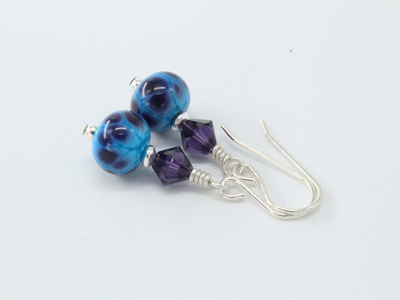 Frit earrings - Violet storm on turquoise
