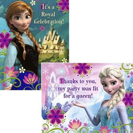 Frozen Postcard Invites x 8