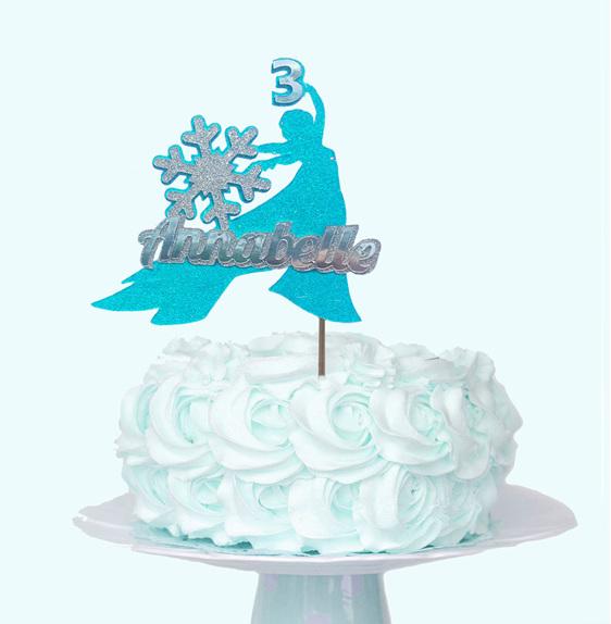 Frozen snowflake girl cake topper glitter card personalised custom