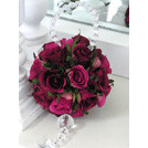 Fuchsia pink rose ball on crystal hanger